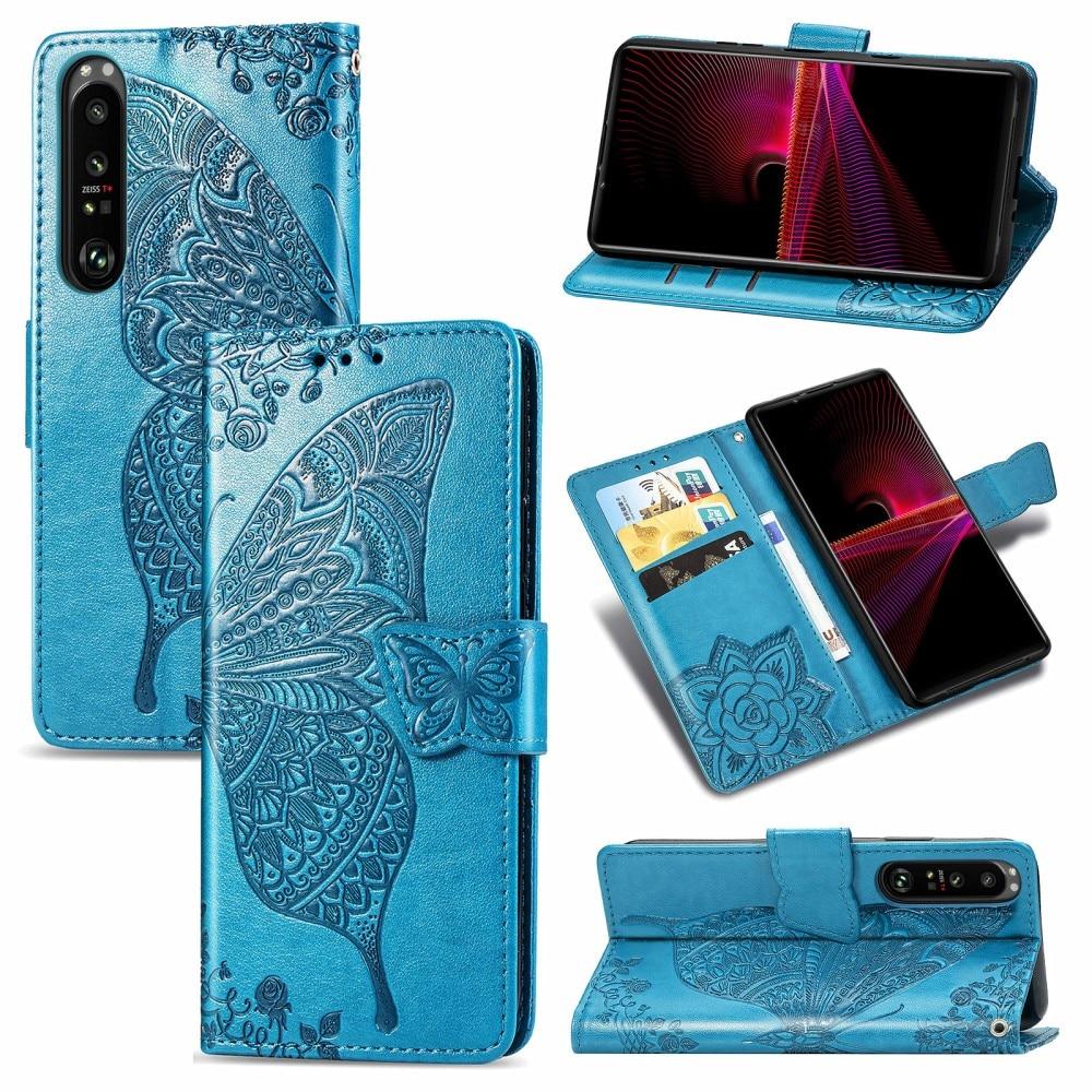 Lærveske Sommerfugler Sony Xperia 1 III blå