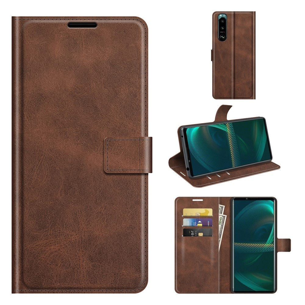 Leather Wallet Sony Xperia 5 III Brown