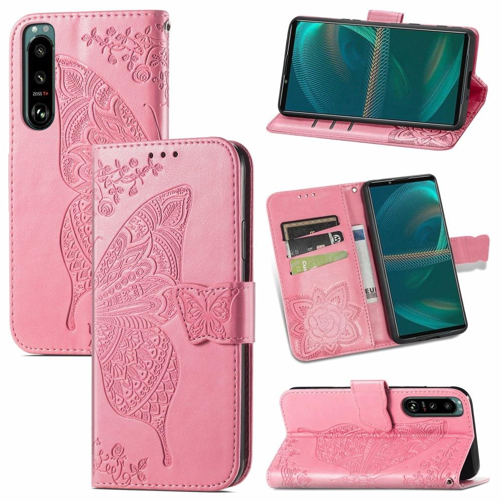 Lærveske Sommerfugler Sony Xperia 5 III rosa