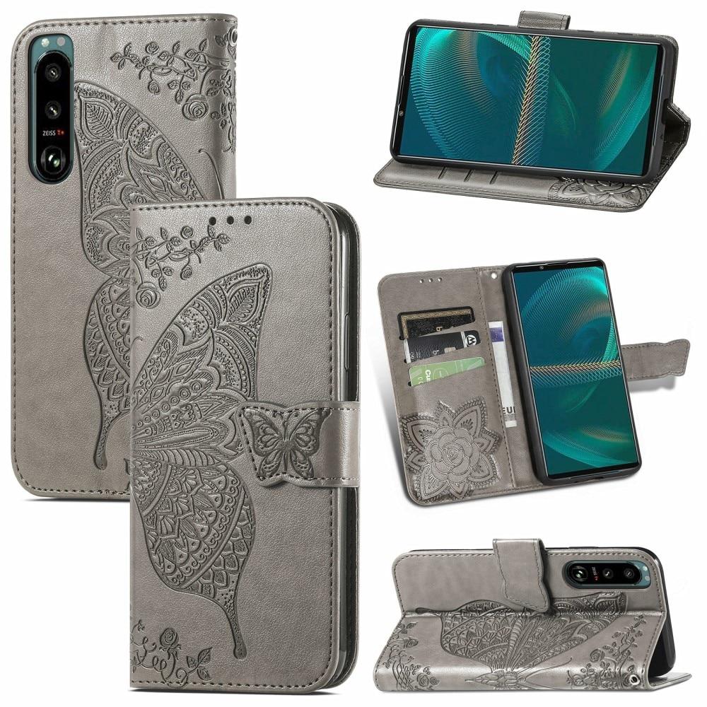 Lærveske Sommerfugler Sony Xperia 5 III grå