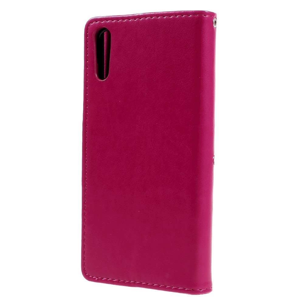 Lærveske Sommerfugler Sony Xperia XZ rosa