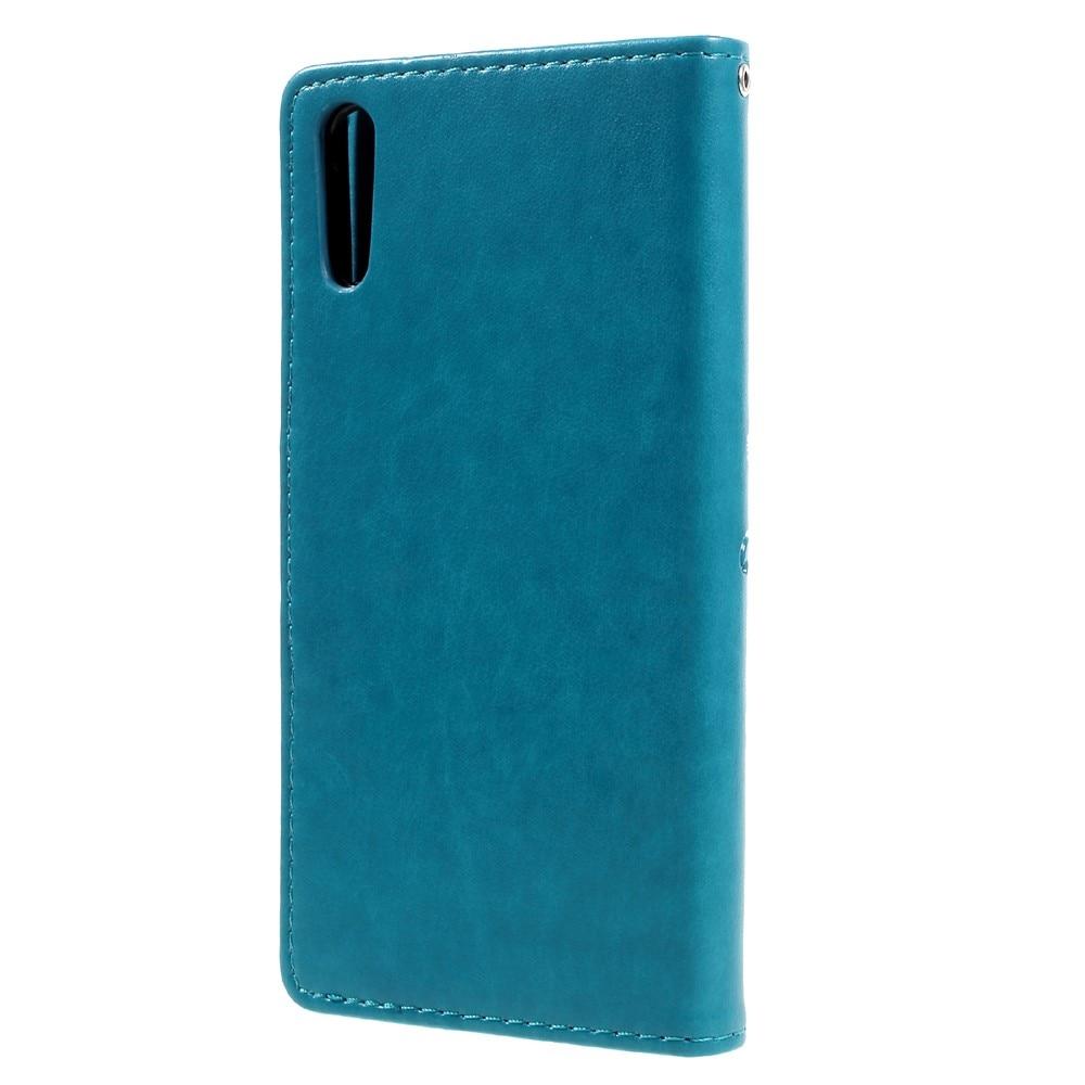 Lærveske Sommerfugler Sony Xperia XZ blå