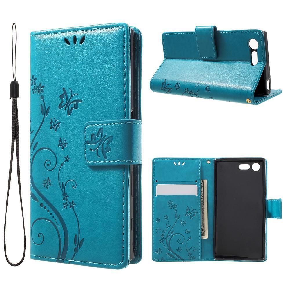 Lærveske Sommerfugler Sony Xperia X Compact blå