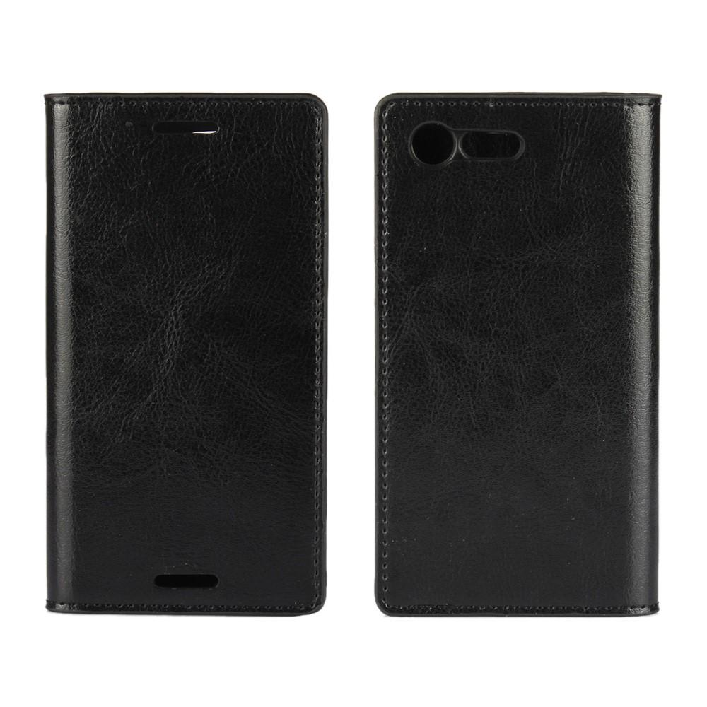 Mobiletui Ekte Lær Sony Xperia X Compact svart