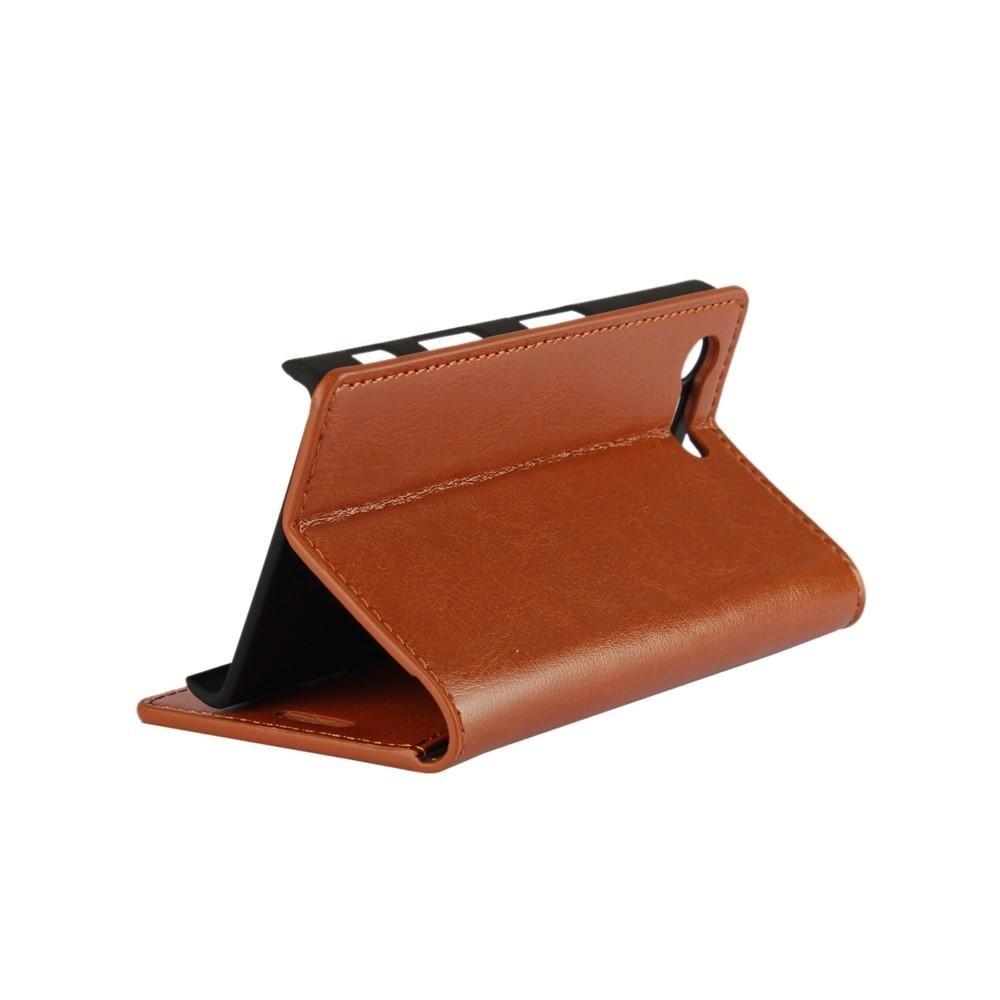 Mobiletui Ekte Lær Sony Xperia X Compact brun