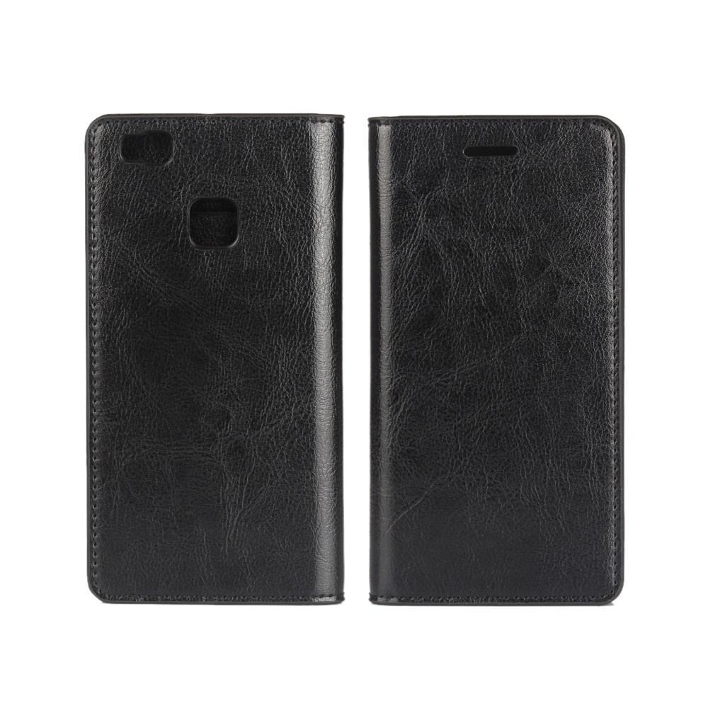 Mobiletui Ekte Lær Huawei P9 Lite svart