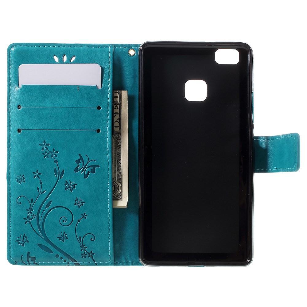 Lærveske Sommerfugler Huawei P9 Lite blå