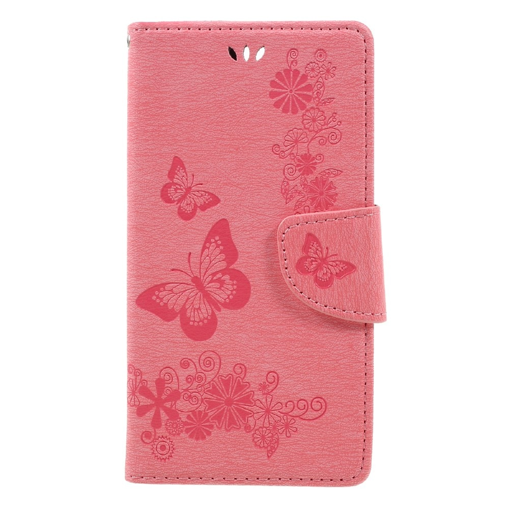 Lærveske Sommerfugler Huawei Honor 8 rosa