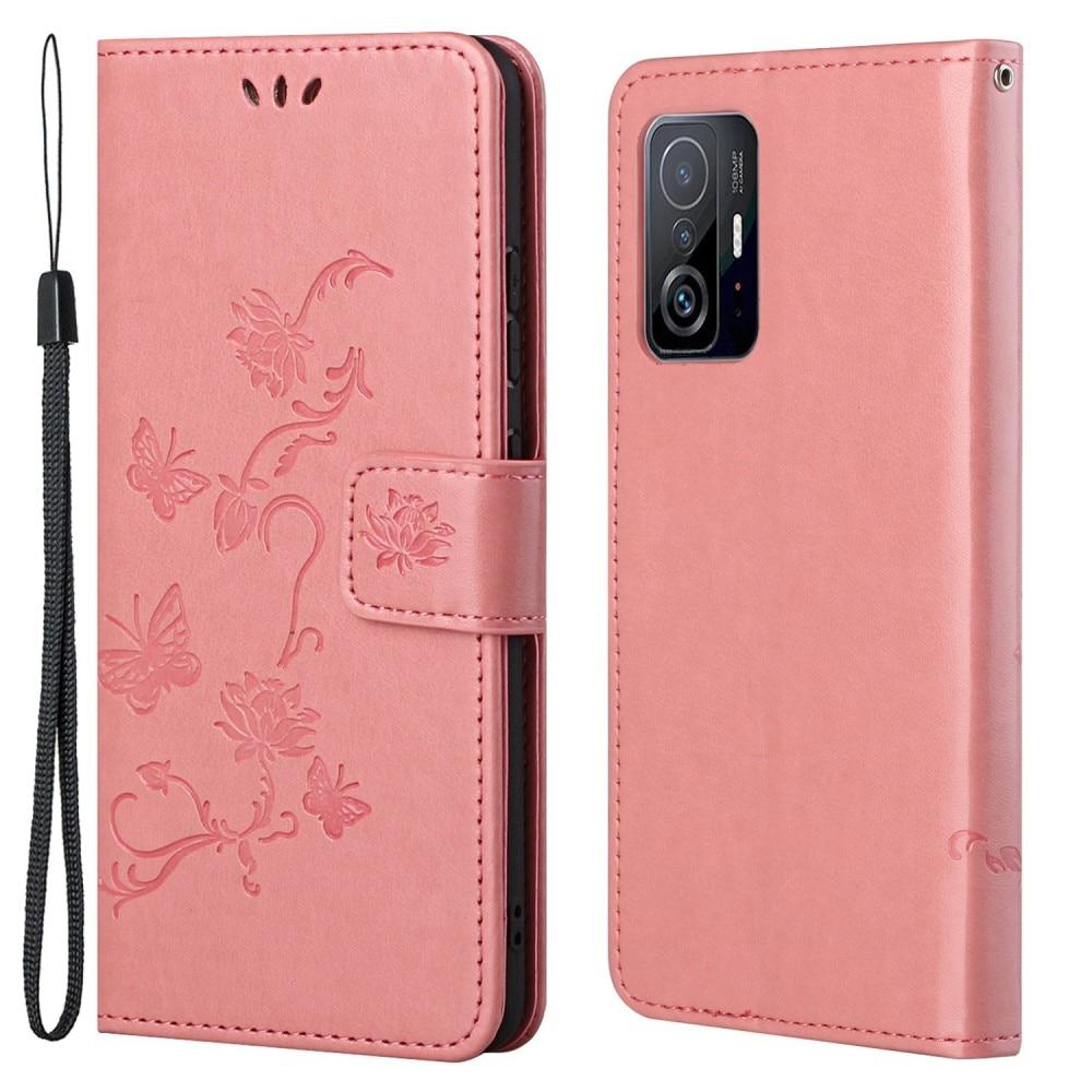 Lærveske Sommerfugler Xiaomi 11T/11T Pro rosa