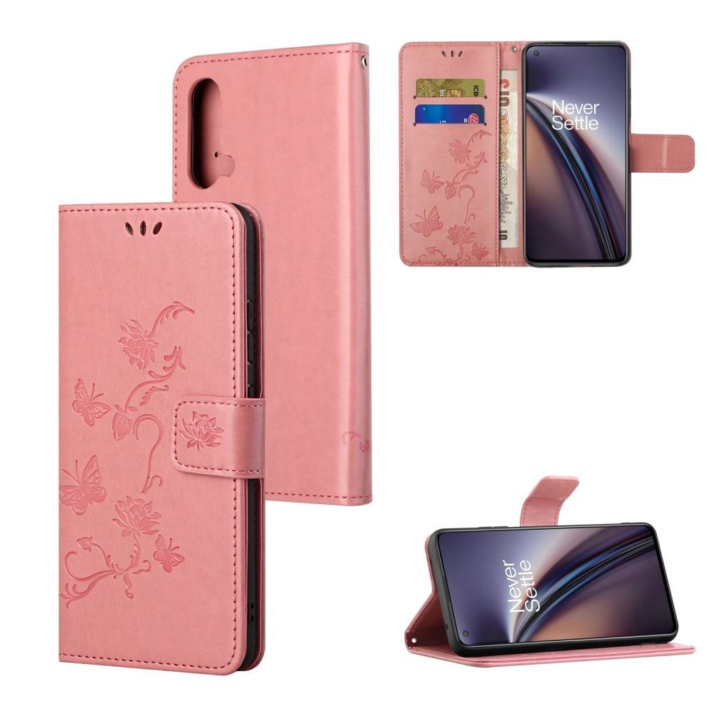Lærveske Sommerfugler OnePlus Nord CE 5G rosa