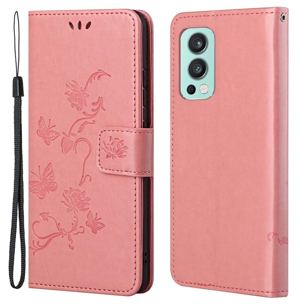 Lærveske Sommerfugler OnePlus Nord 2 5G rosa