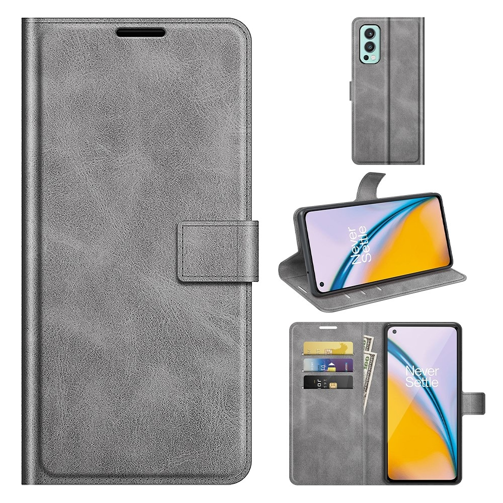 Leather Wallet OnePlus Nord 2 5G Grey