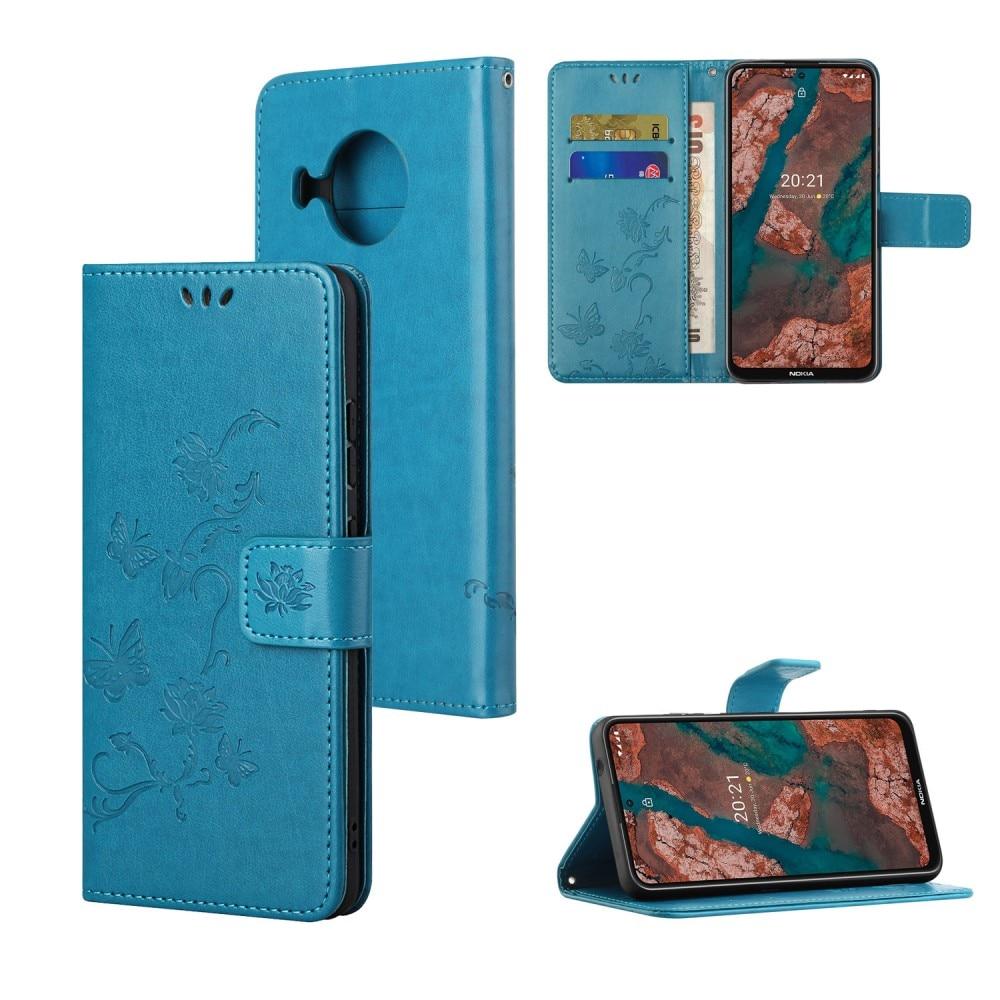 Lærveske Sommerfugler Nokia X10/X20 blå