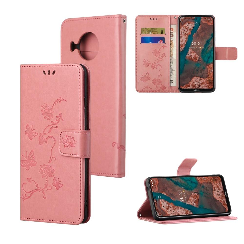 Lærveske Sommerfugler Nokia X10/X20 rosa