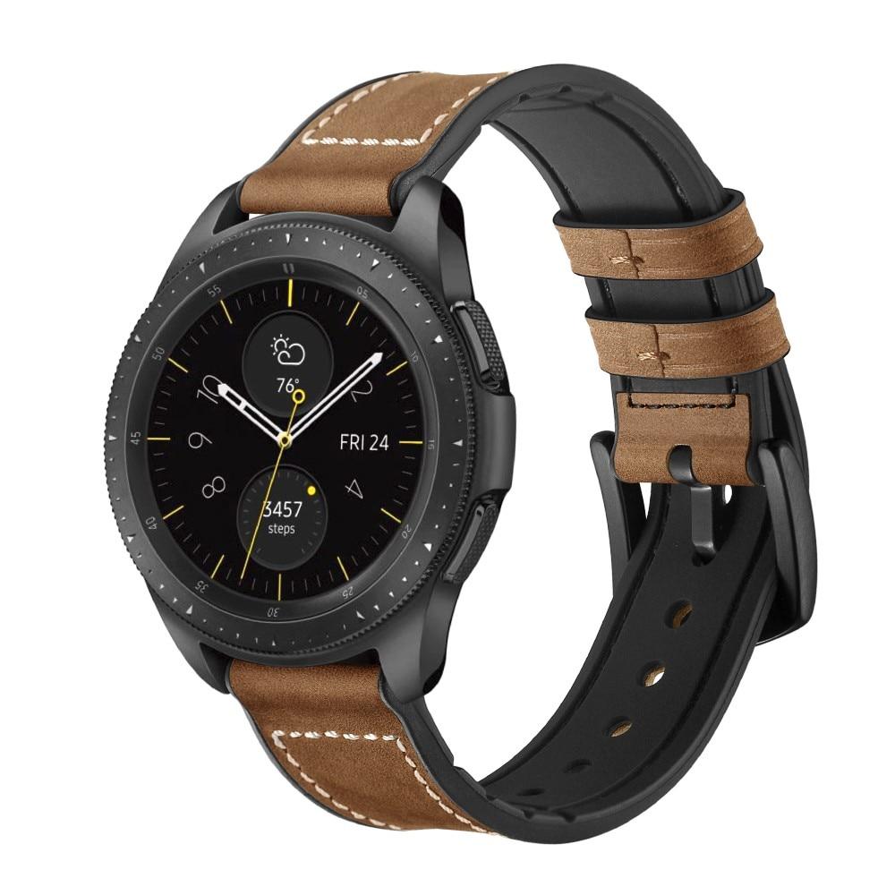 Premium Lærarmbånd Galaxy Watch 4 Classic 42/46 mm brun