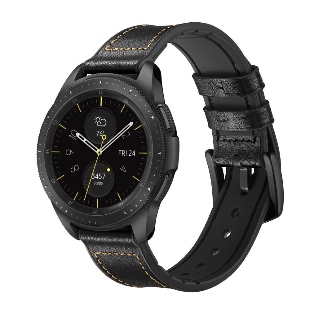 Premium Lærarmbånd Galaxy Watch 4 Classic 42/46 mm svart