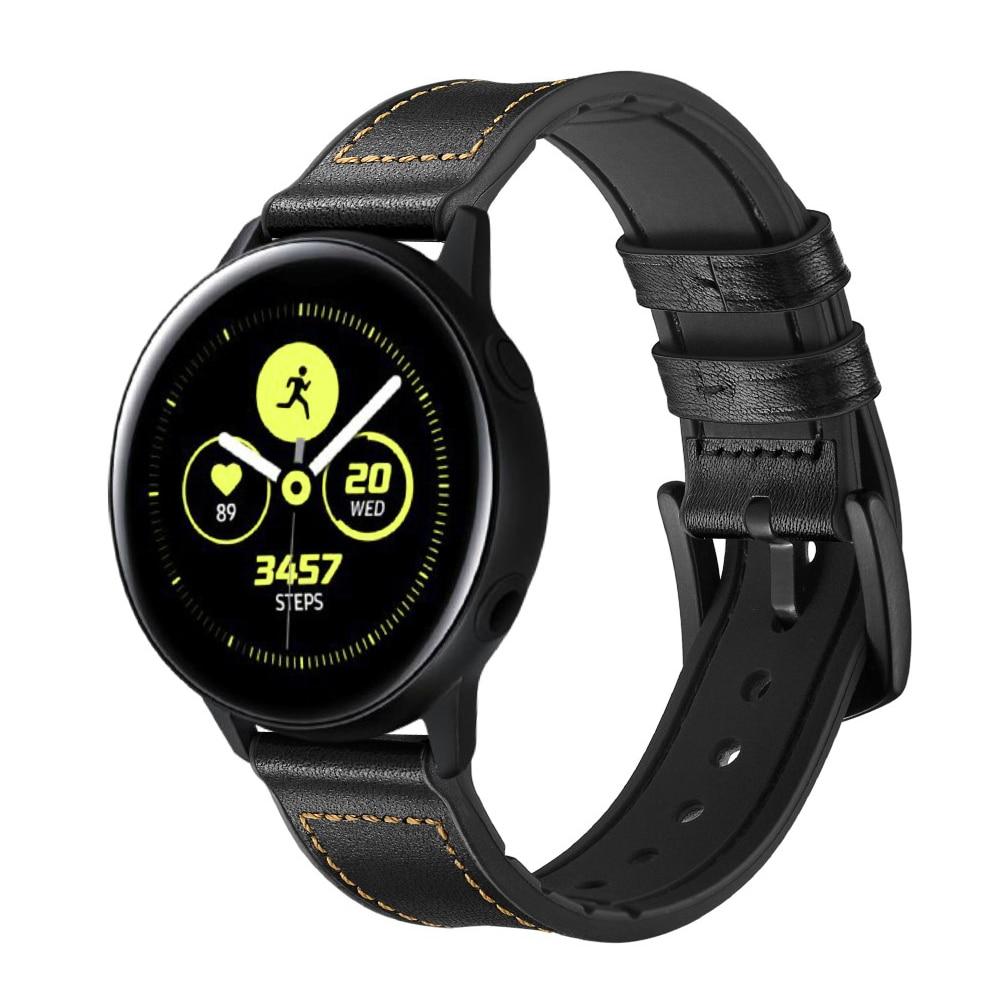 Premium Lærarmbånd Galaxy Watch 4 40/44 mm svart