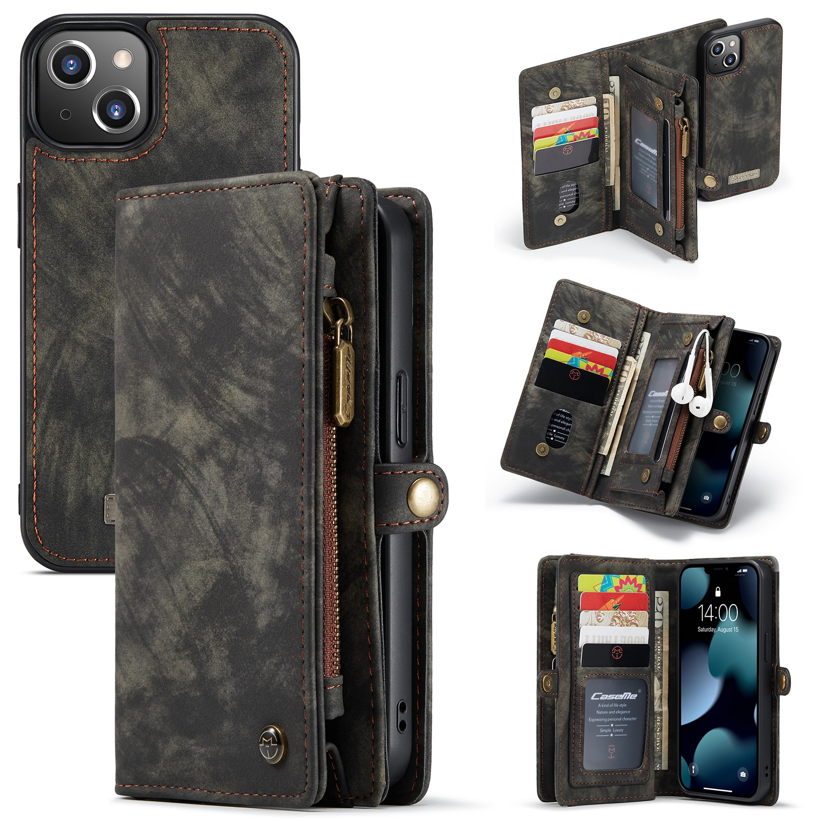 Multi-slot Lommeboksetui iPhone 13 Mini grå