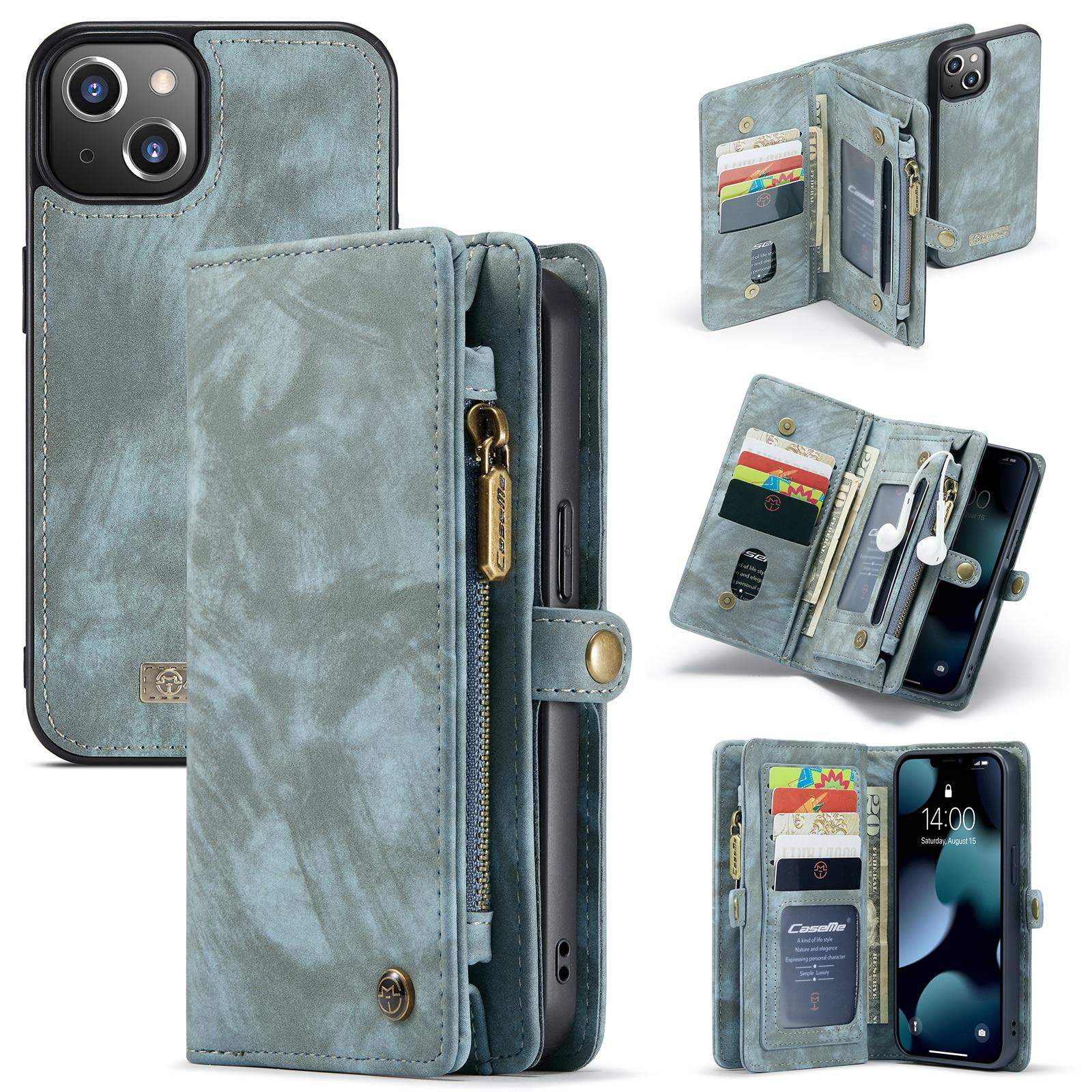 Multi-slot Lommeboksetui iPhone 13 Mini blå