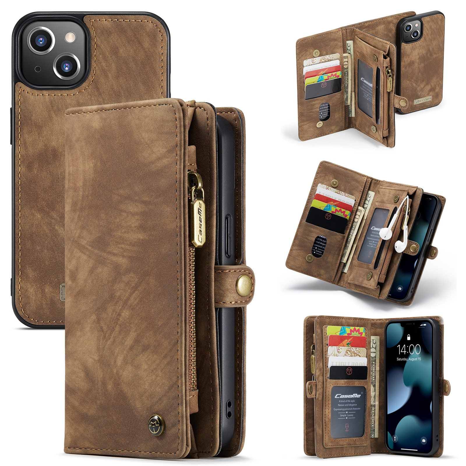 Multi-slot Lommeboksetui iPhone 13 Mini brun