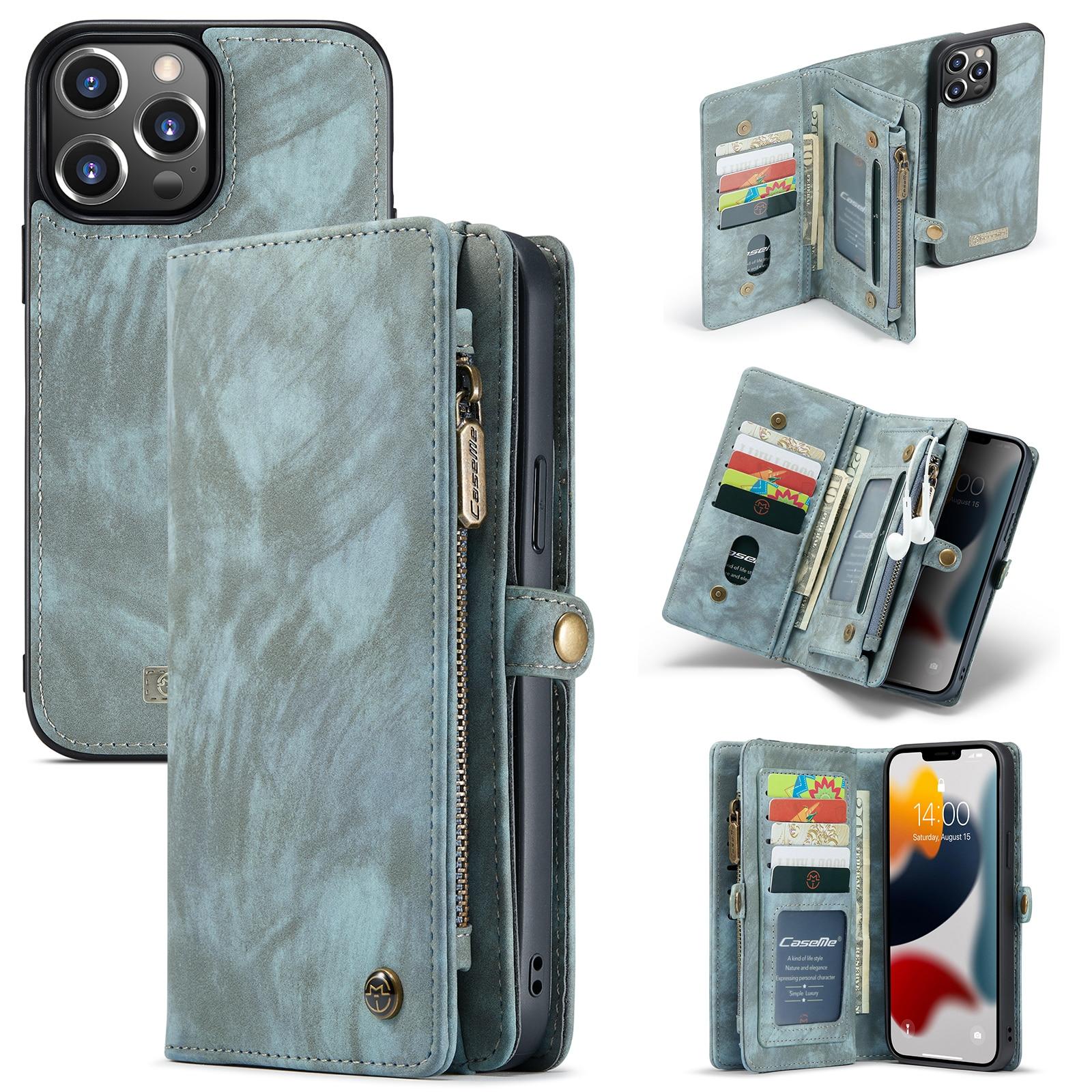 Multi-slot Lommeboksetui iPhone 13 Pro Max blå