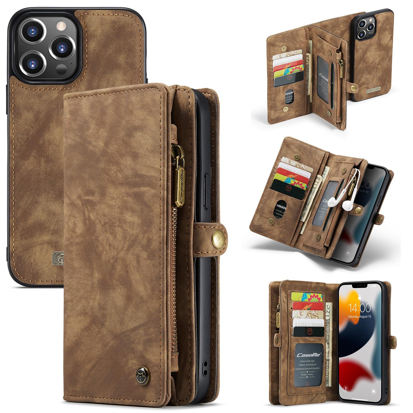 Multi-slot Lommeboksetui iPhone 13 Pro Max brun