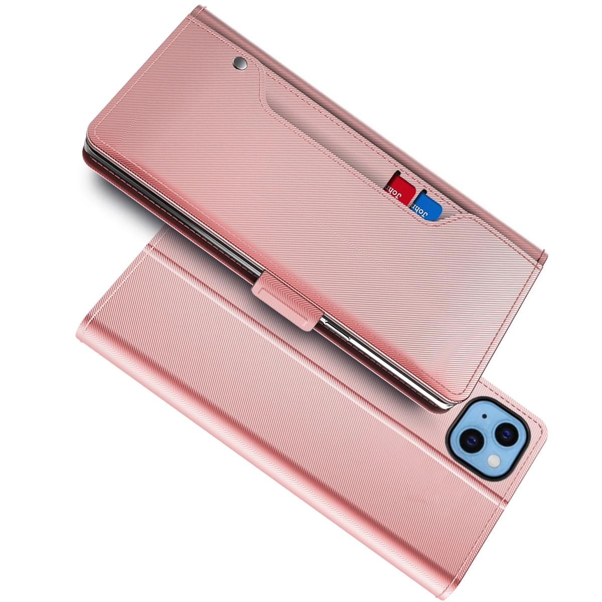Lommebokdeksel Speil iPhone 13 Rosa Gull