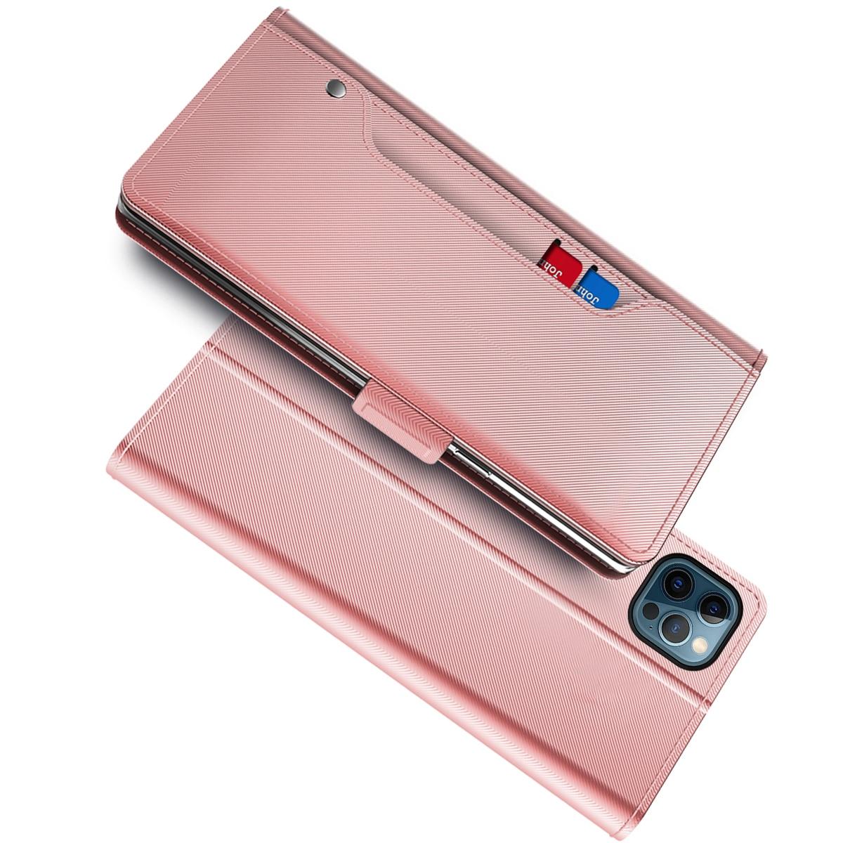 Lommebokdeksel Speil iPhone 13 Pro Max Rosa Gull