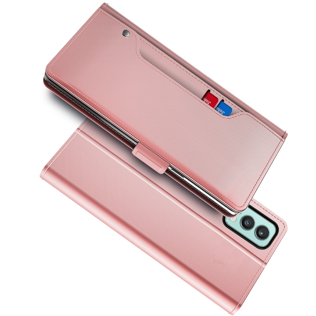 Lommebokdeksel Speil OnePlus Nord 2 5G Rosa Gull