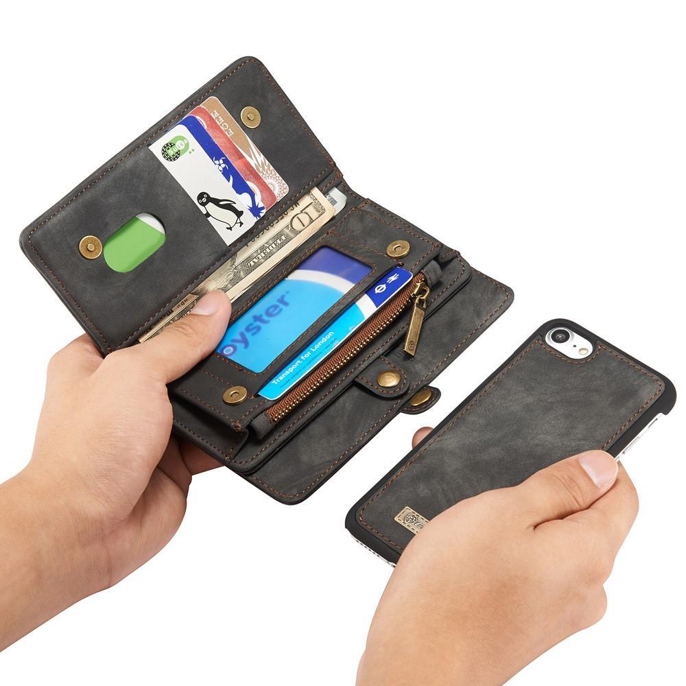 Multi-slot Lommeboksetui iPhone 7/8/SE 2020 grå