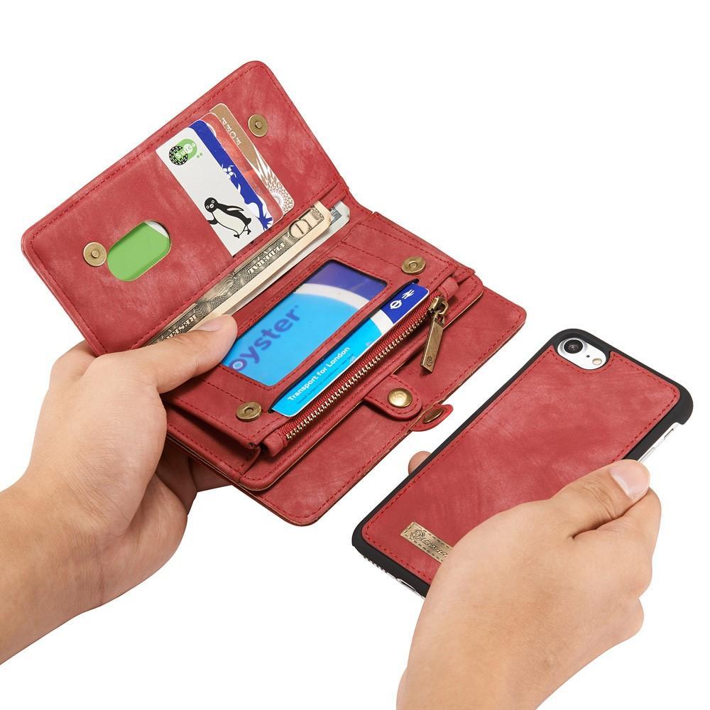 Multi-slot Lommeboksetui iPhone 7/8/SE 2020 rød
