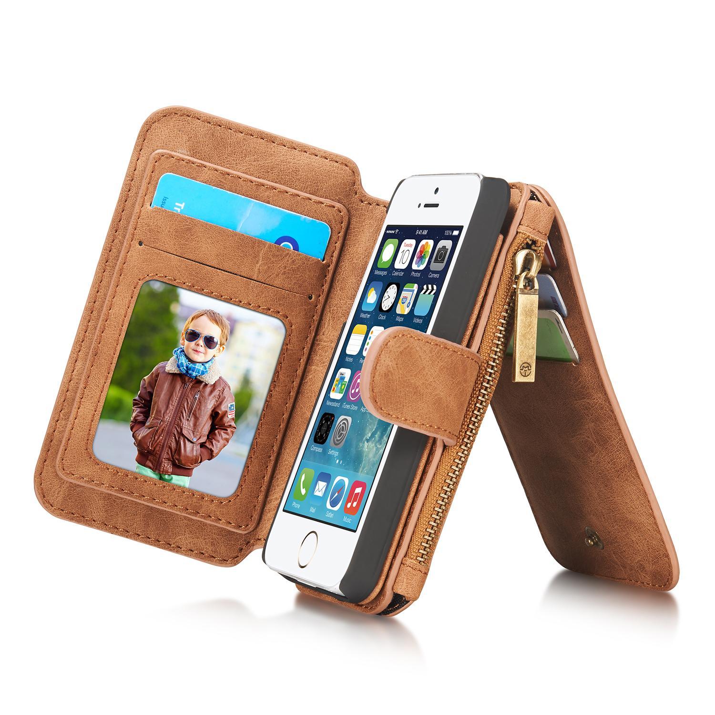 Multi-slot Flipdeksel iPhone 5/5S/SE brun