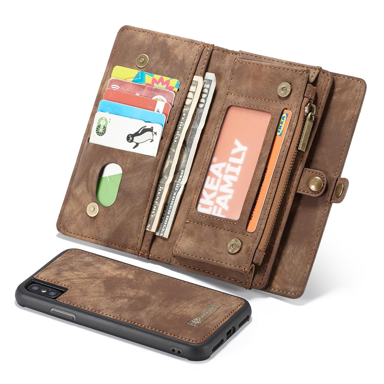Multi-slot Lommeboksetui iPhone X/XS brun