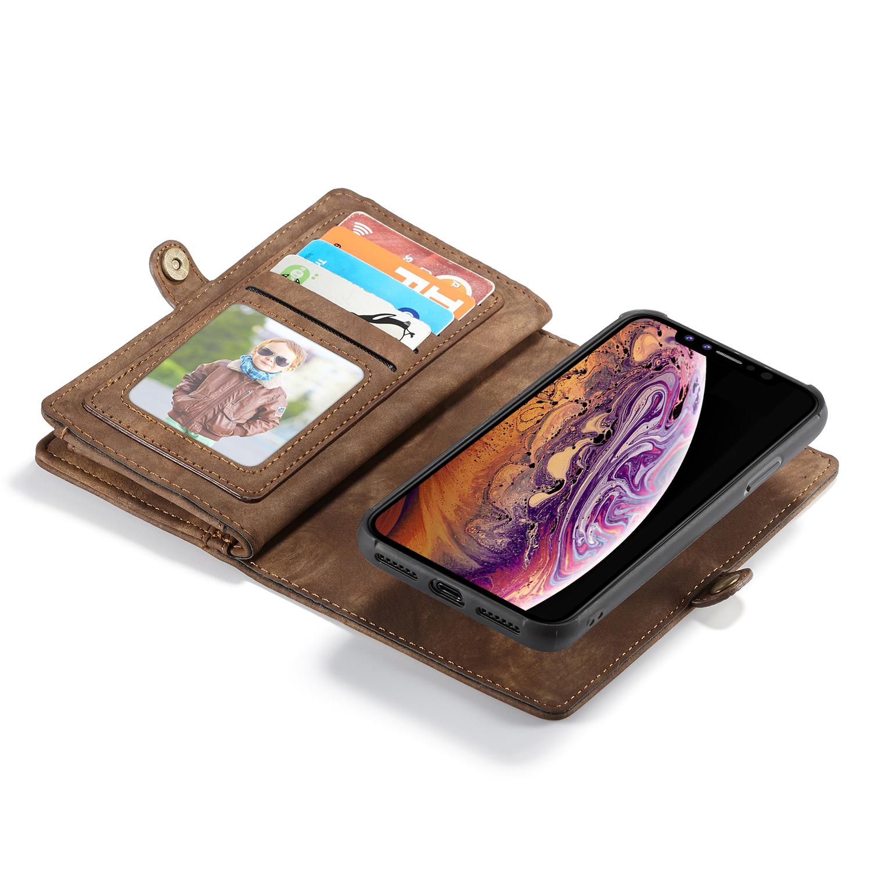 Multi-slot Lommeboksetui iPhone XS Max brun
