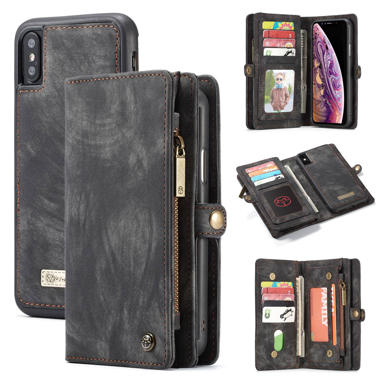 Multi-slot Lommeboksetui iPhone XS Max grå