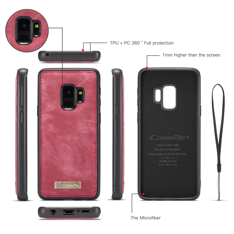 Multi-slot Lommeboksetui Samsung Galaxy S9 rød