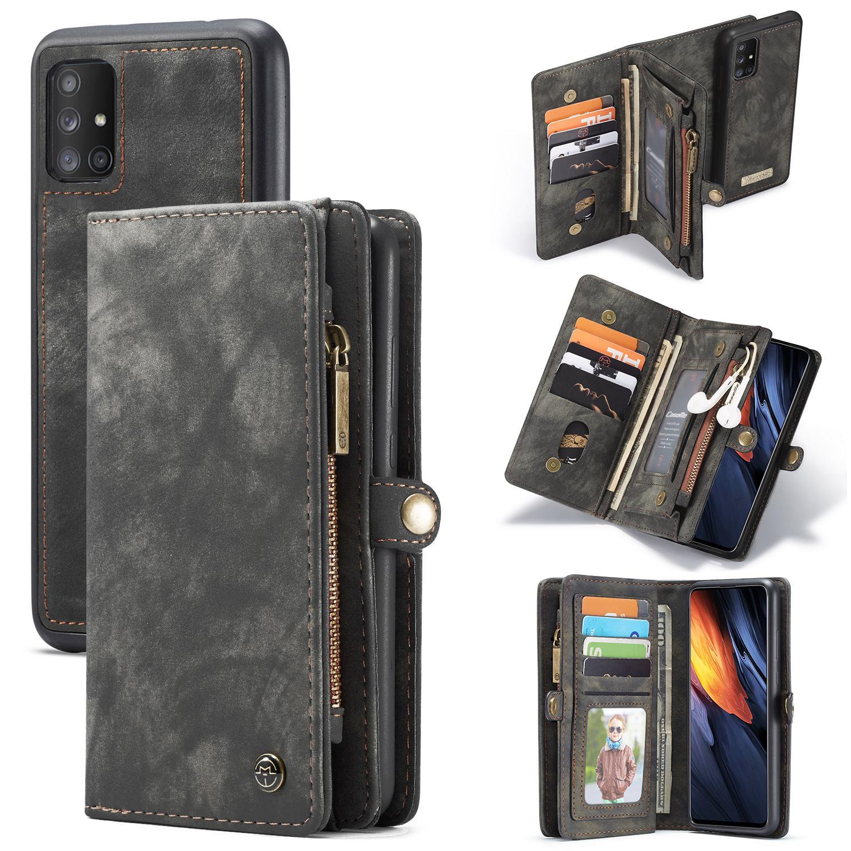 Multi-slot Lommeboksetui Galaxy A71 grå