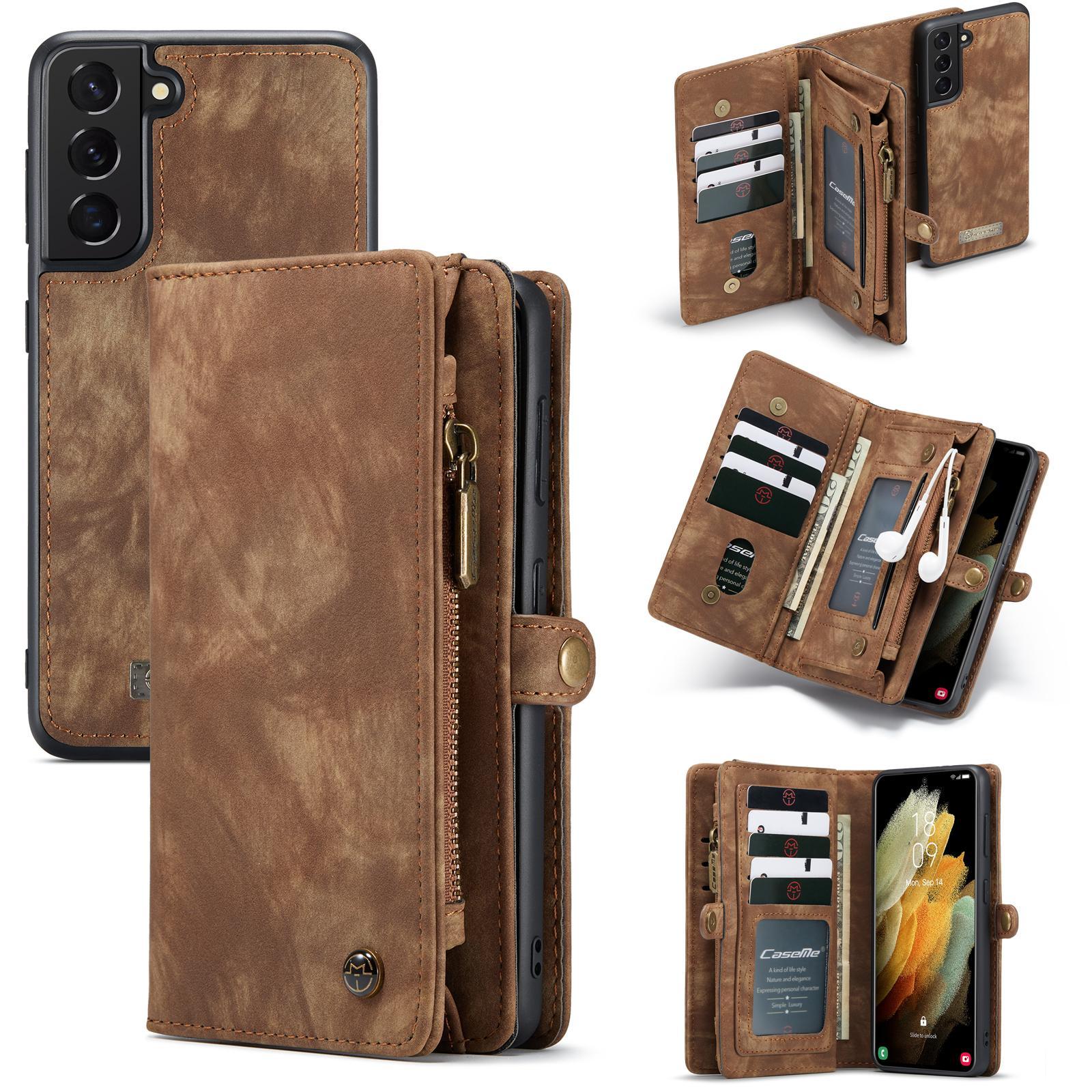 Multi-slot Lommeboksetui Galaxy S21 Plus brun