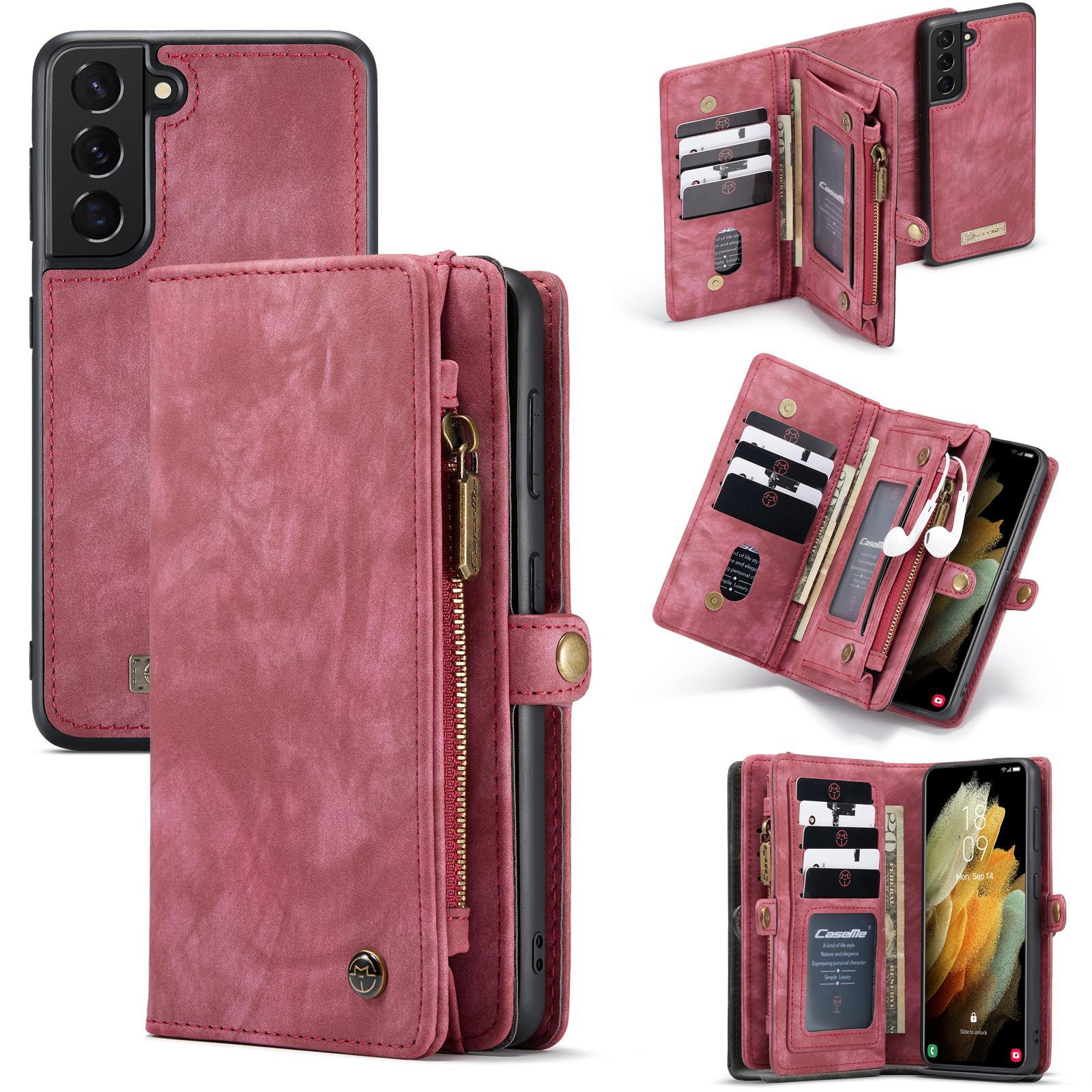 Multi-slot Lommeboksetui Galaxy S21 rød
