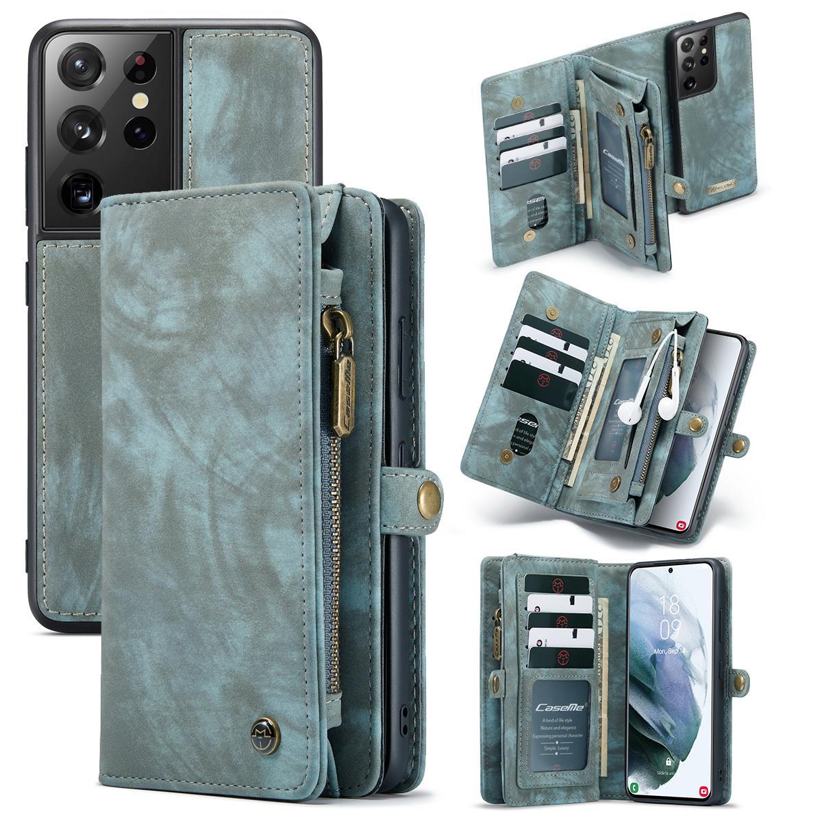 Multi-slot Lommeboksetui Galaxy S21 Ultra blå