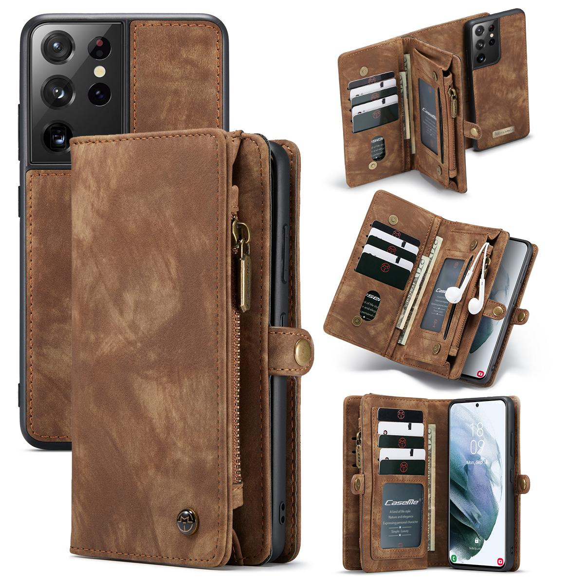 Multi-slot Lommeboksetui Galaxy S21 Ultra brun