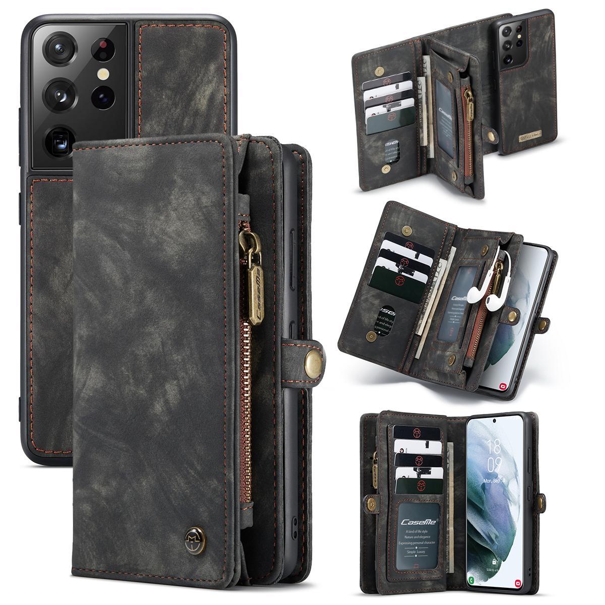 Multi-slot Lommeboksetui Galaxy S21 Ultra grå