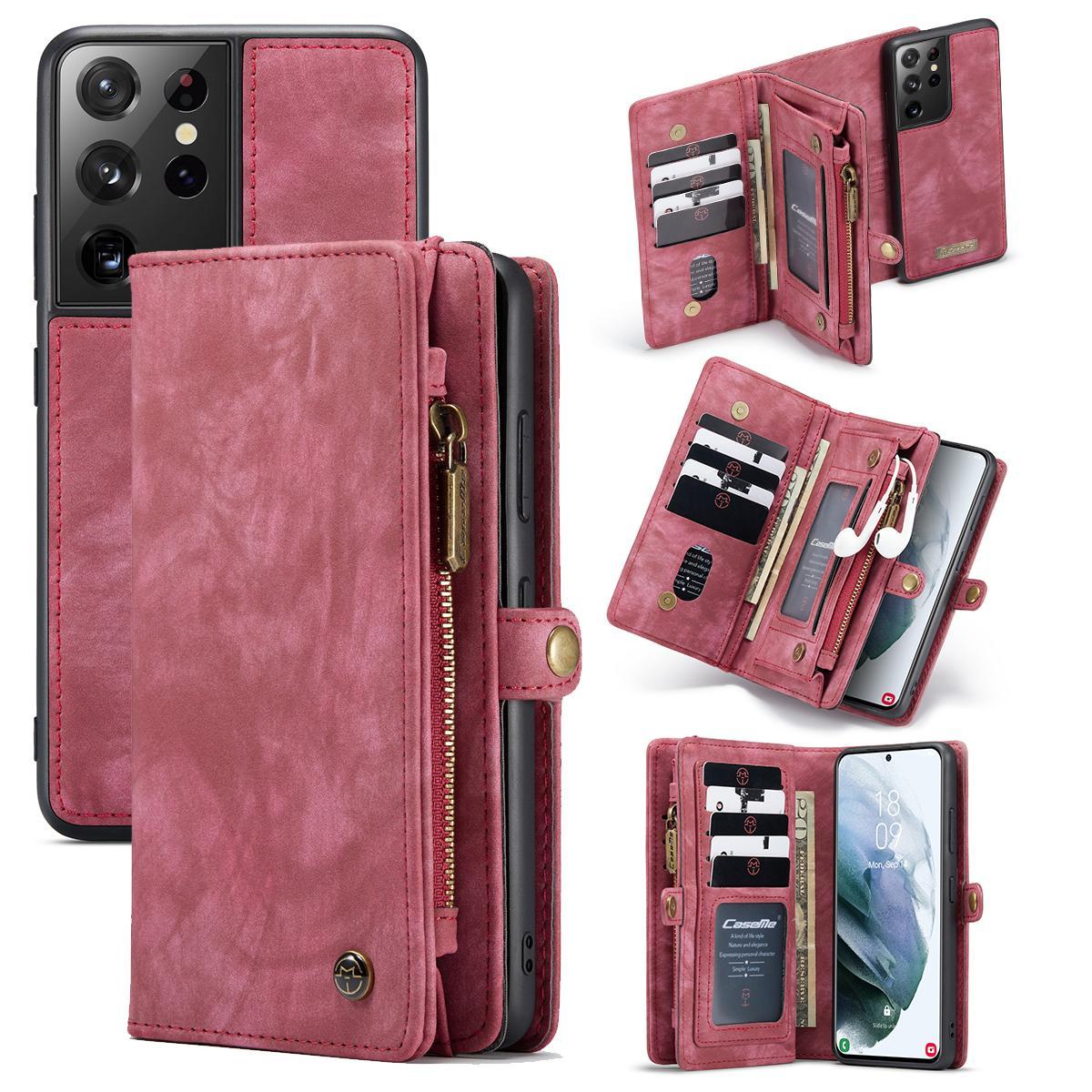 Multi-slot Lommeboksetui Galaxy S21 Ultra rød