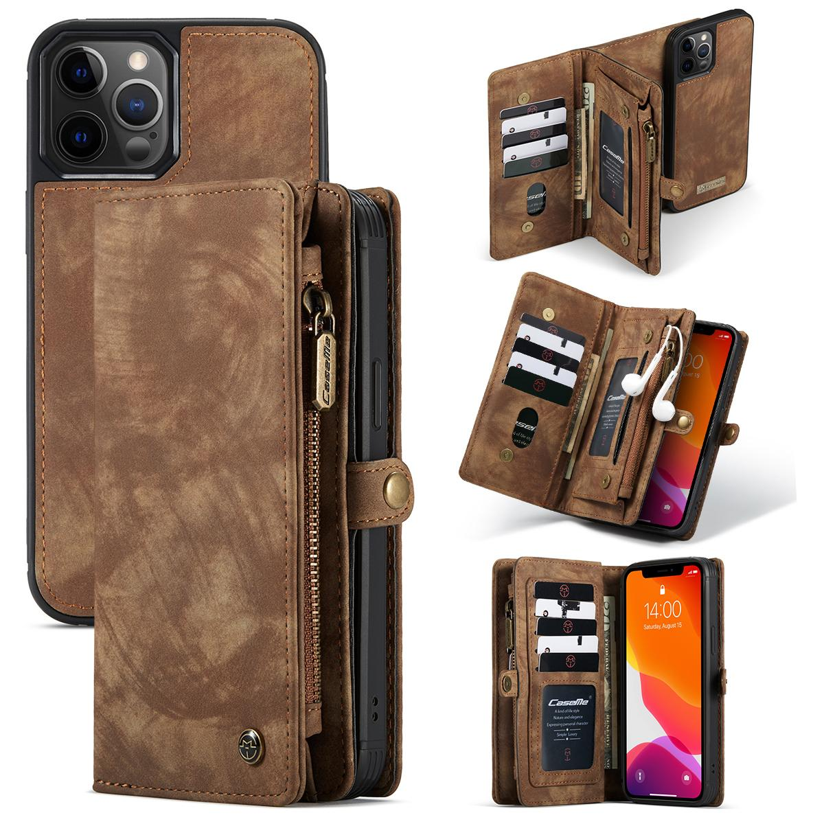 Multi-slot Lommeboksetui iPhone 12/12 Pro brun