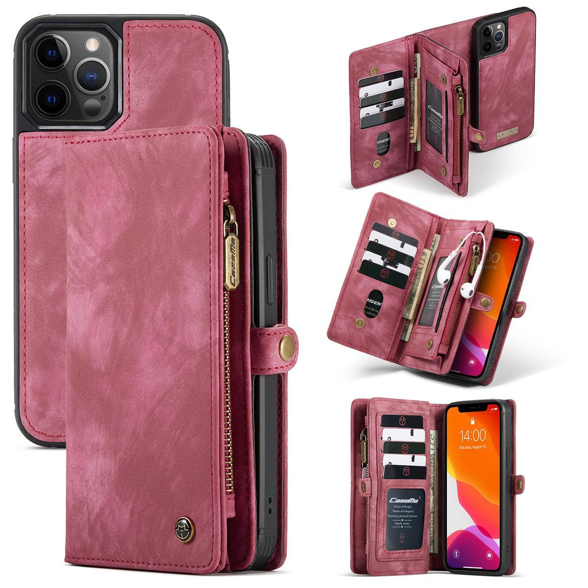 Multi-slot Lommeboksetui iPhone 12/12 Pro rød