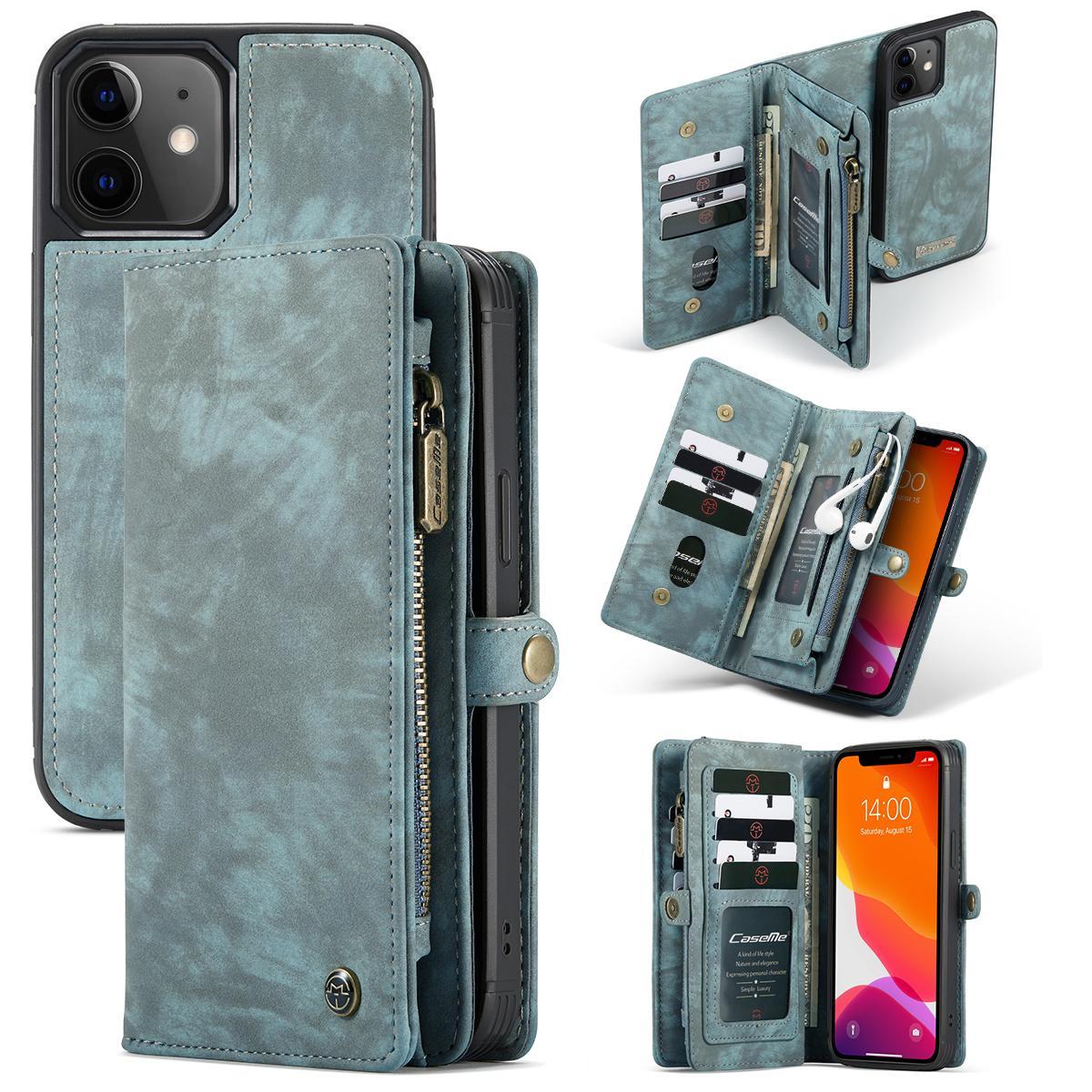 Multi-slot Lommeboksetui iPhone 12 Mini blå