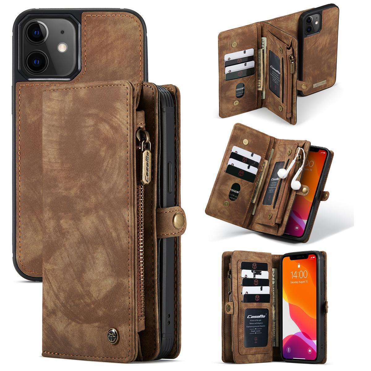 Multi-slot Lommeboksetui iPhone 12 Mini brun