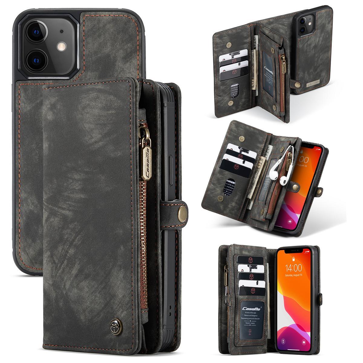Multi-slot Lommeboksetui iPhone 12 Mini grå