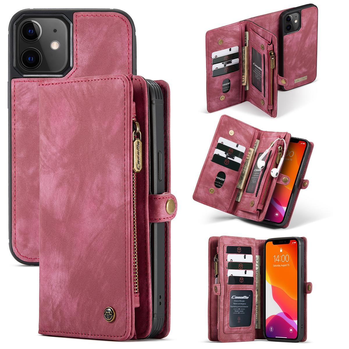 Multi-slot Lommeboksetui iPhone 12 Mini rød