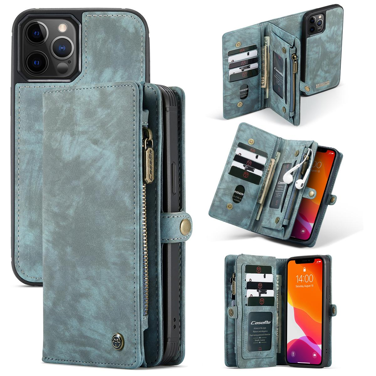 Multi-slot Lommeboksetui iPhone 12 Pro Max blå